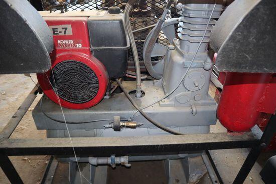 Air compressor, horz., Kohler 10 hp. Engine, w/ cage encloser