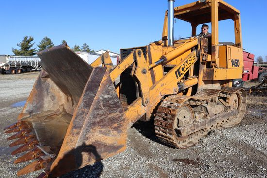 """Case 1450 track loader, sn 3831105, hrs. on meter 1,324, OROPS, 16"""" street"""