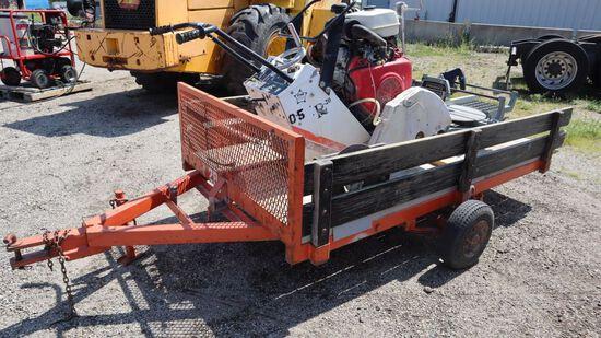 Utility trailer, 8ft wooden bed, removeable sides, tilt bed, pintel hitch.