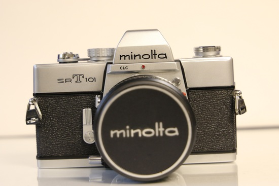Minolta SRT 101 Camera with Lens and Leather Case