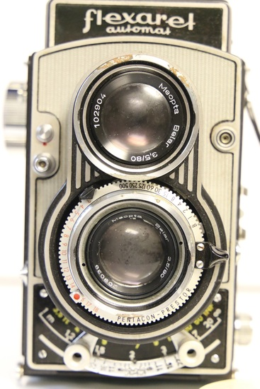 Meopta Flexaret Automat TLR Camera with Leather Case and Plastic Lens Cover