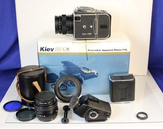 Kiev 88CM Medium Format SLR, with Original Box, Includes Lots of Extras