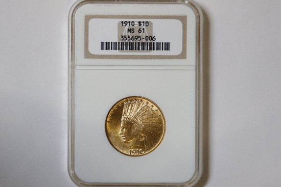 1910 $10 Gold Coin, Indian Head Eagle