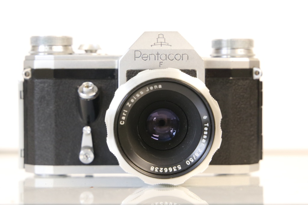 Pentacon F SLR Camera with Zeiss Lens and Leather Case