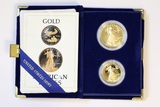1987 1 ounce and 0.5 ounce American Gold Eagle Set
