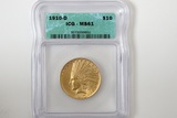 1910 D $10 Gold Coin, Indian Head Eagle