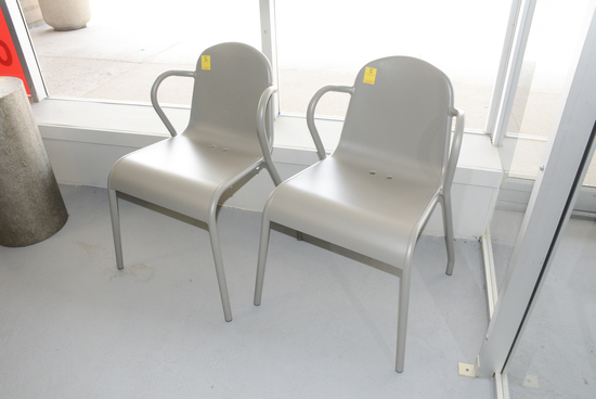 TWO MODERN LOBBY CHAIRS