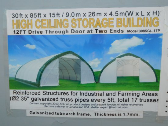 3085gl 17p 30 X 85 X 15 Storage Building 2 12 Doors Farm Machinery Implements Landscaping Storage Greenhouse Outbuildings Auctions Online Proxibid