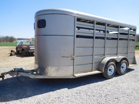2011 GR 6' X 16' STOCK TRAILER, TA, ESCAPE DOOR