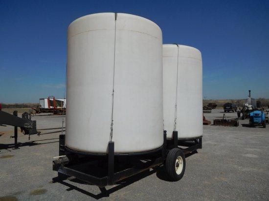 2- WYLIE 2500 GAL. POLY TANKS ON TRAILER, BP, SA, CONE BOTTOM