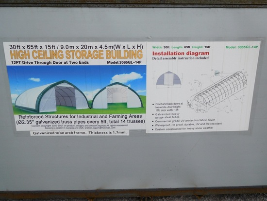 STORAGE BUILDING 30' X 65' X 15', COMMERCIAL FABRIC, WATERPROOF, UV & FIRE