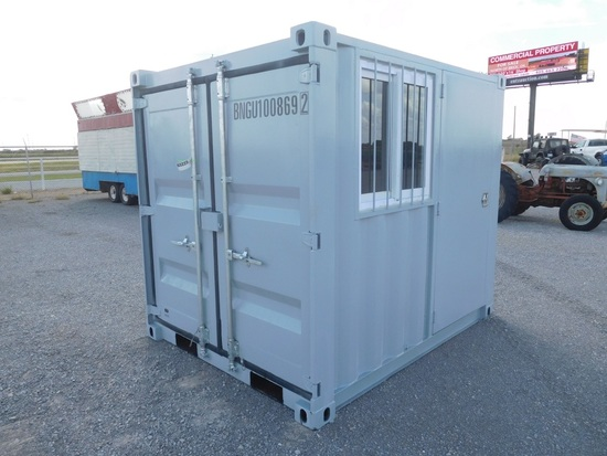 8' METAL STORGE CONTAINER, WINDOW, 2 DOORS, LOCK BOX, FORKLIFT POCKETS