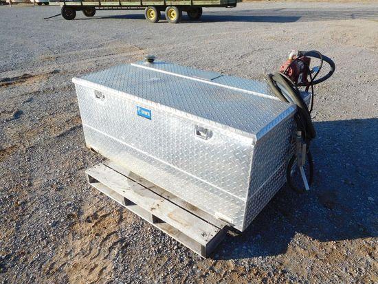 ALUM. TOOL BOX/FUEL TANK COMBO, 105 GAL TANK W/12V PUMP