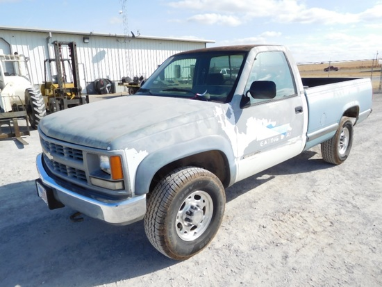 1994 CHEVY 2500 PICKUP,  4X4, AUTO, GAS, SINGLE CAB, LONG BED, SHOWS 235,66