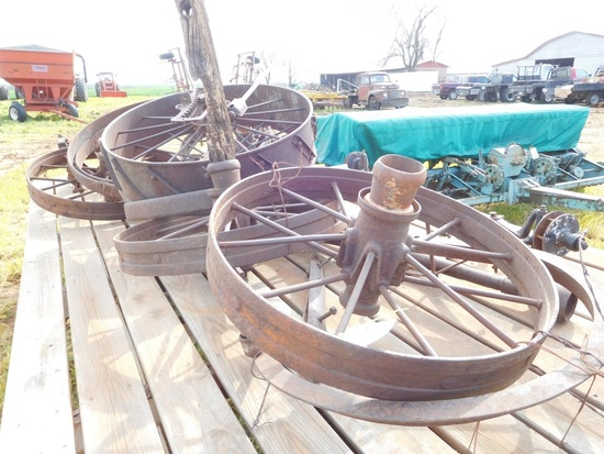 1 Lot of Antique Steel Wheels, Misc.