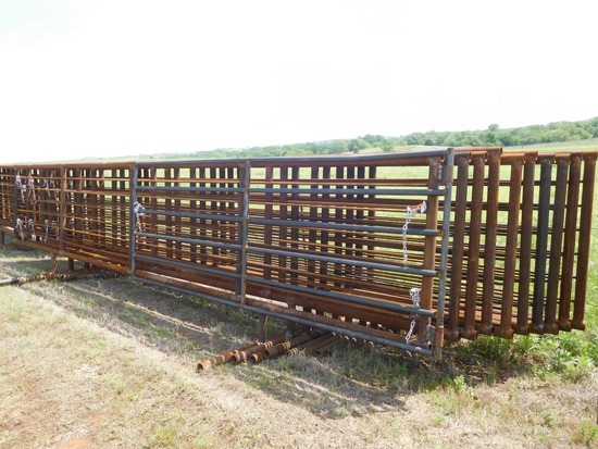 24' HEAVY DUTY FREE STANDING PANELS, ONE WITH 12' GATE***SOLD TIMES THE MONEY**