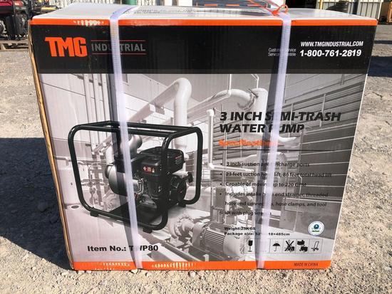 "TMG 3"" SEMI-TRASH WATER PUMP, 6.5 HP, GAS, UNUSED"