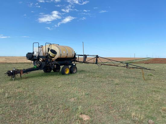 WYLIE 45' SPRAYER, 1,000 GALLON POLY TANK HYD. PUMP, TA FLOATING AXLE, WITH RAVEN 440 MONITOR