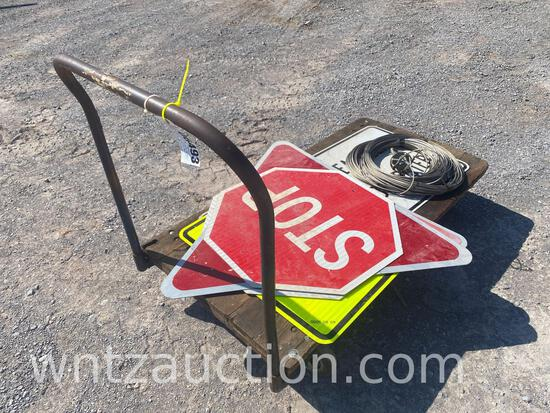 """6 ALUMINUM ROAD SIGNS, ROLE OF 1/4"""" CABLE"""