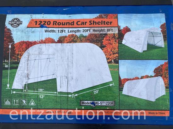 ROUND CAR SHELTER, 8' X 12' X 20', UNUSED