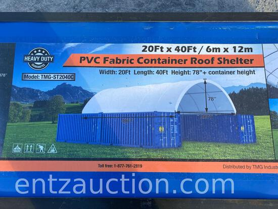 20' X 40' PVC FABRIC CONTAINER ROOF SHELTER,