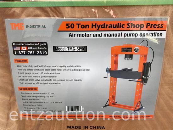 TMG 50 TON HYDRAULIC SHOP PRESS, AIR MOTOR AND