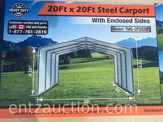 TMG 20' X 20' ALL STEEL CARPORT WITH ENCLOSED