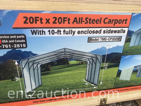 TMG 20' X 20' ENCLOSED ALL STEEL CARPORT,