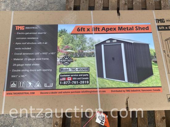 TMG 6' X 8' APEX METAL SHED, UNUSED