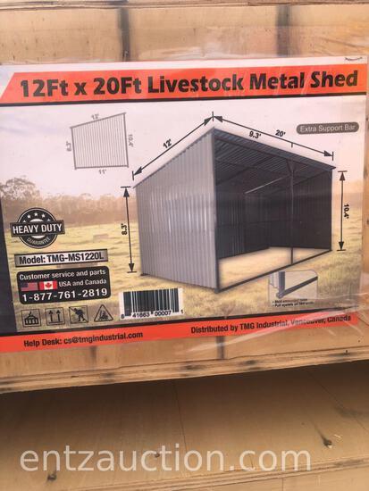 TMG 12' X 20' LIVESTOCK METAL SHED, UNUSED