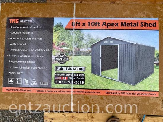 TMG 8' X 10' APEX METAL SHED, UNUSED