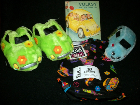 Various VW Merchandise including bag, slippers, boot and stuffed animal