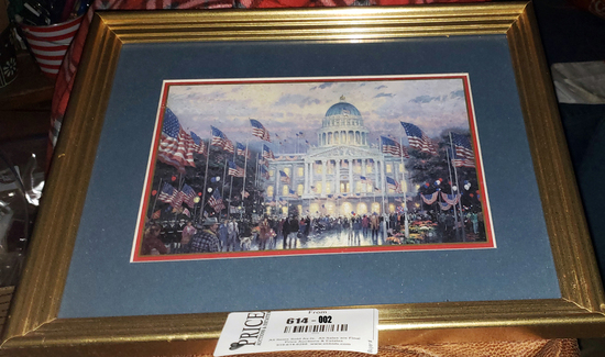 Lot 2: Thomas Kincade - Flags Over The Capitol - Great Independence Day Gift!