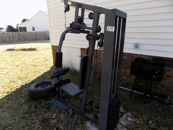 Lot 14: In Home/Garage Workout Machine  Missing Leg Extension  Butterfly, Leg Extension And Chest Pr