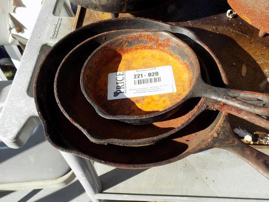 Lot 20: Set Of Three Vintage Cast Iron Frying Pans