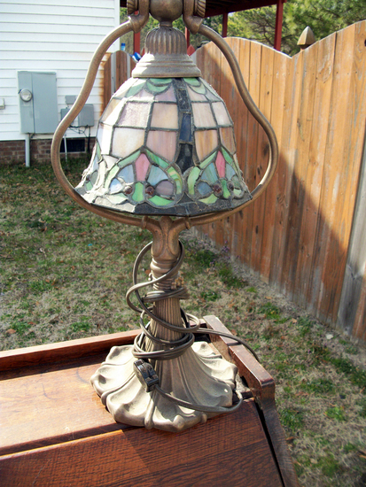 Lot 27: Vintage Looking Reproduction Multicolored Shade Tiffany Style Office Lamp.