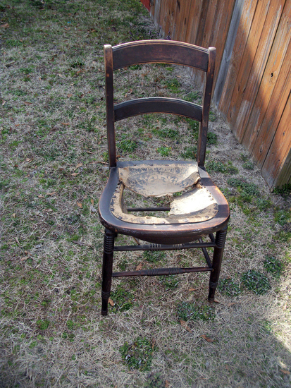 Lot 29: Vintage Hall Chair With Leather Braded Seating (Needs Repair)