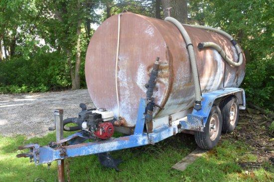 1500 Gallon Steel Tank Water Wagon, Tandem Axle With Honda Transfer Pump