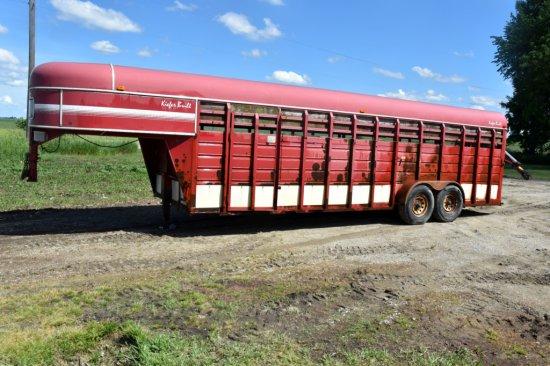 Kiefer Gooseneck Livestock Trailer, 7'x24', Tandem Axle