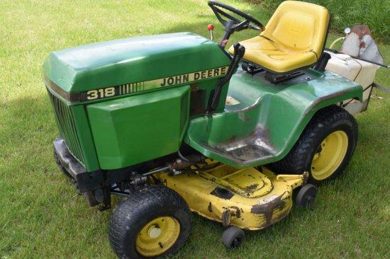 """John Deere 318 Garden Tractor, Hydrostatic, 52"""" Deck With John Deere MC519 Bagger Cart"""
