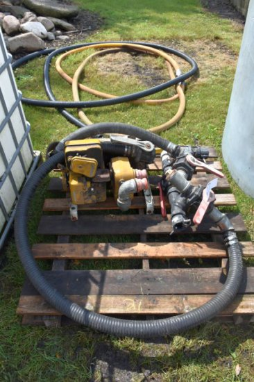 Transfer Pump with 5 HP B&S Motor and Banjo Fittings and Hose