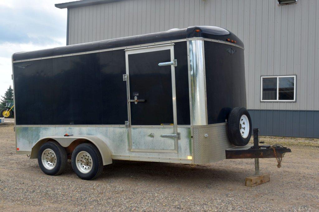 2002 H-H 7'x15' Cargo Trailer, Tandem Axle, Flip Down Ramp Door, Side Door