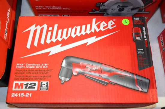 Milwaukee M12 Cordless, 3/8'' Right Angle Drill Kit, New In Box