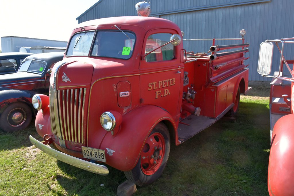 1941 Ford Cab Over Fire Truck, St. Peter, 95 HP Engine, Will Run, Has Pump and Fire Body, Family Has