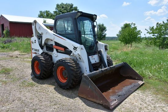 2012 Bobcat A770 All Wheel Steer Skid Loader, 1310 Actual Hours, Hand Controls, Cab, Heat, AC, Power