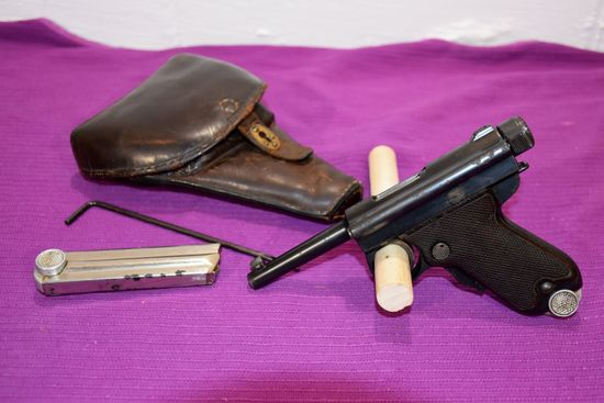 Japanese Baby Nambu Pistol, 7MM, 2 Numbers Matching Clips, (2 Clips), Leather Holster, Cleaning Rod,