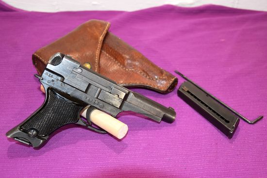 Japanese Type 94 Nambu Pistol, 8MM, 2 Clips, Cleaning Rod, Leather Holster, SN: 54012