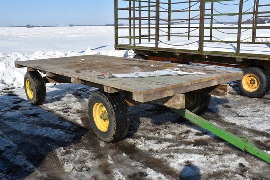 7' x 14' Flatbed Hay Rack, On JD 1066 Running Gear