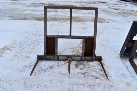 3 Tine Square Bale Spear, Universal Skid Loader Plate