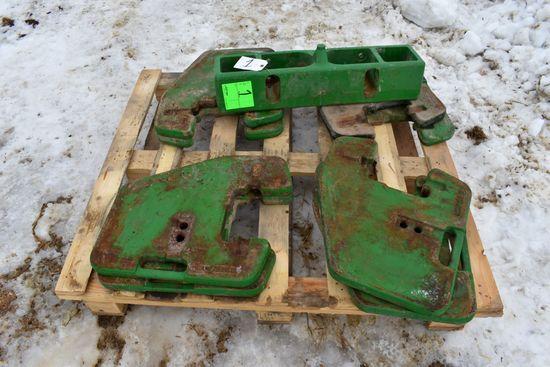 (8) John Deere Suitcase Weights & Bracket, Selling 8 x $
